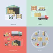 Warehouse Flat Set — Stock Vector