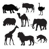 Wild African Animals Black — Stock Vector