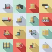 Warehouse Flat Icons Set — Stock Vector