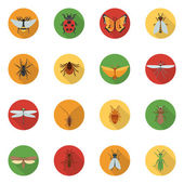 Insects Icons Flat — Stock Vector