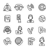 Call Center Outline Icons Set — Stock Vector