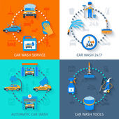 Car wash service  4 icons flat — Stock Vector