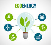 Eco energy flat icons composition poster — 图库矢量图片