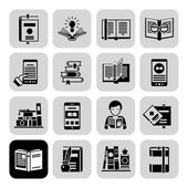 Books Icons Black Set — ストックベクタ