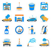 Car wash service icons set — Vector de stock