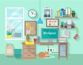 Local de trabalho em sala — Vetor de Stock