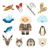 Chukchi Icons Set — Stock Vector