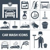 Car wash service icons set black — Stock Vector