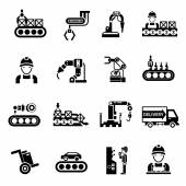 Production Line Icons Black — Stock Vector