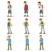 Medicine disease man flat characters set — Stock Vector