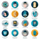 Biometric Authentication Icons — Stock Vector