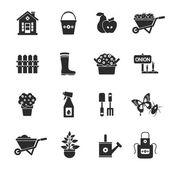 Gardening Black Icons Set — ストックベクタ