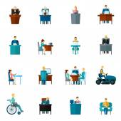 Sedentary Icons Flat — Stock Vector