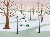 Winter Park Landscape — Stock Vector