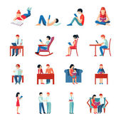 Reading People Set — Stock Vector