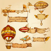 Airships With Banners — Stock Vector