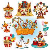 Amusement Park Colored Set — Stock Vector