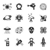 Fiction Icons Black Set — Stock Vector