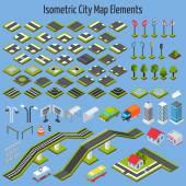 Elementy mapy izometrický City — Stock vektor