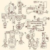 Industrial Machines Doodles Set — Stock Vector