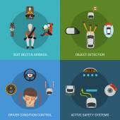 Sada do auta bezpečnostní systém — Stock vektor