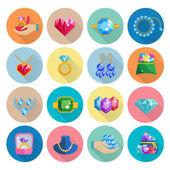 Precious Jewels Icons Flat — Vector de stock