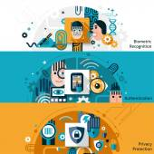 Biometric Authentication Banners — Stock Vector