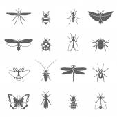 Insects Black Icons Set — Stock Vector