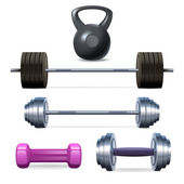 Dumbbells Barbells And Weight — Stock Vector