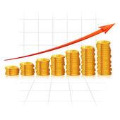Diagram With Golden Coins — Stock Vector