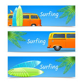 Surfing Banners Set — Stock Vector