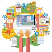 Seo concept computer poster — Stock Vector