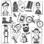 Hipster black icons composition print — Stock Vector