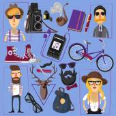 Hipster flat icons composition poster — Stock Vector