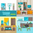 Interior rooms furnishing 4 flat icons — Vector de stock  #71549073