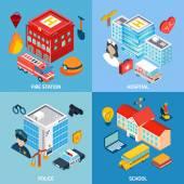 Municipal Buildings Set — Stock Vector