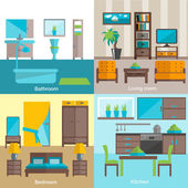 Interior rooms furnishing 4 flat icons — Stock Vector