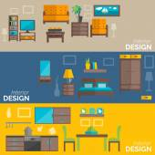 Home furniture design flat banners set — Stock Vector