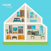 House inside furnishing ideas icon poster — Stock Vector