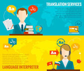 Translation and dictionary banners set flat — Stock Vector