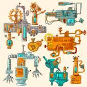 Industrial Machines Doodles Colored — Stock Vector