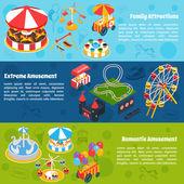 Amusement Isometric Banners — Stock Vector