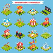 Amusement Park Isometric — Stock Vector