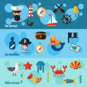 Nautical Banners Set — Stock Vector