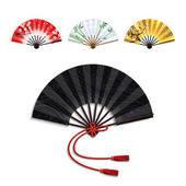 Folding Fan Set — Stock Vector