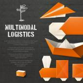 Origami Logistic Background — Vector de stock