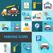 Parking Icons Flat — Stock Vector