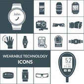 Wearable Technologies Icons Black — Stock Vector