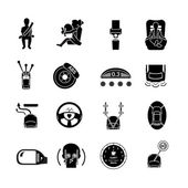 Car Safety Icons Black — Stockvektor