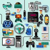 Gaming Gadgets Set — Stock Vector